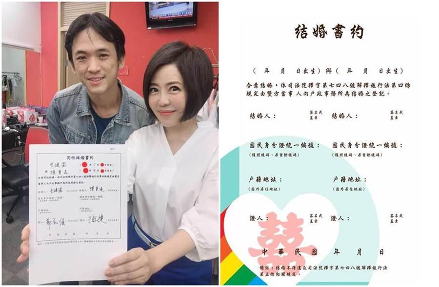 于美人和鄭弘儀為友人簽署「同性婚姻書約」。(圖/于美人、鄭弘儀臉書)