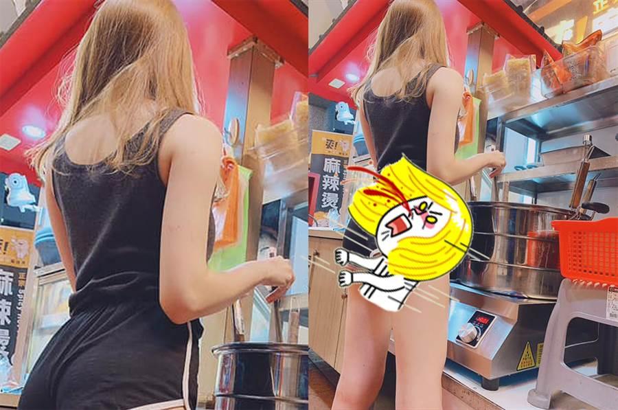 真理褲妹賣麻辣燙 網暴動跪求店址(圖/翻攝自臉書《爆廢公社》)