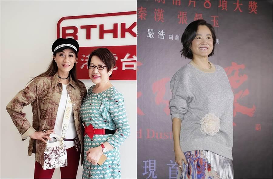 張天愛(左圖左)上車淑梅節目,坦言很感謝林青霞照顧她女兒。(圖/翻攝自《on.cc東網》、中時資料照片)