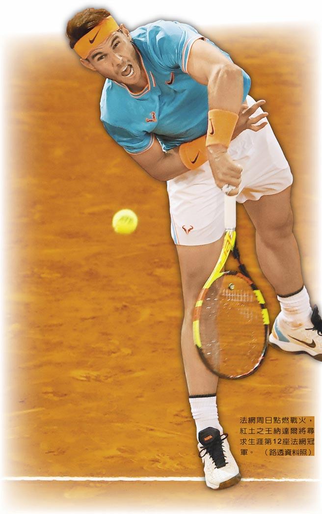 法網周日點燃戰火,紅土之王納達爾將尋求生涯第12座法網冠軍。(路透資料照)