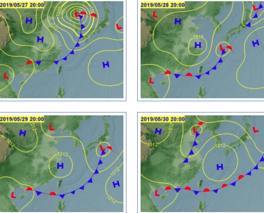 27日鋒面接近台灣,28日由北往南通過台灣,29日南移至巴士海峽。(翻攝自 中央氣象局)