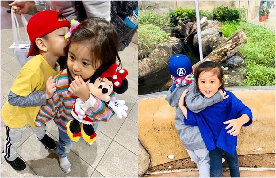 賈靜雯的女兒咘咘在香港迪士尼過生日巧遇徐若瑄兒子小V寶。(圖/翻攝自徐若瑄臉書)