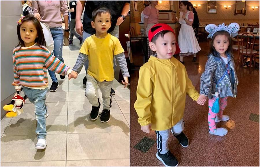 咘咘跟小V寶生日只差一天,剛好兩位媽媽都決定去香港迪士尼慶生,就這樣巧遇對方。(圖/翻攝自徐若瑄臉書)