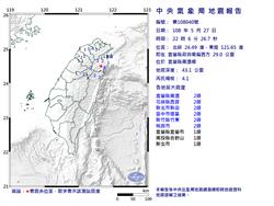 抖一下!22:06宜蘭縣規模4.1地震 最大震度2級