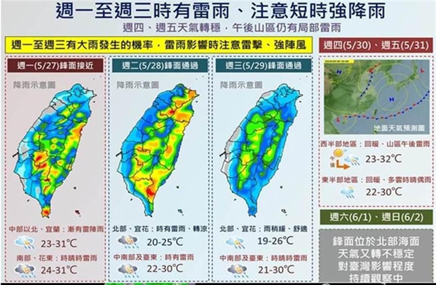 一張圖看全台降雨趨勢。(圖/氣象局)