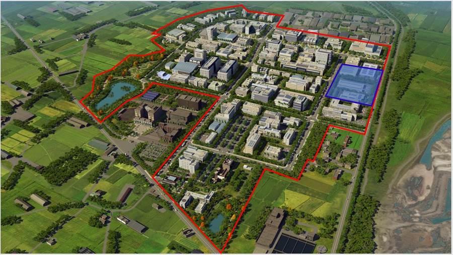 紅色框線為和發園區範圍,右上方藍色方塊是鴻海購買土地。(高市經發局提供)