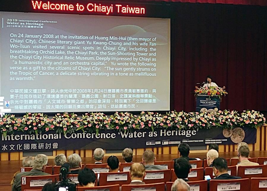 全球首屆水文化國際研討會在嘉義市開幕,市長黃敏惠歡迎各國水專家來台。(廖素慧攝)