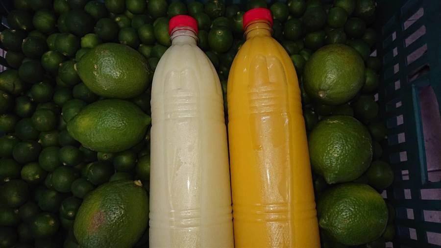 金桔先生販售的金桔檸檬瓶裝原汁,不但供應台南主要下游零售商,民眾也可以零買。(程炳璋攝)
