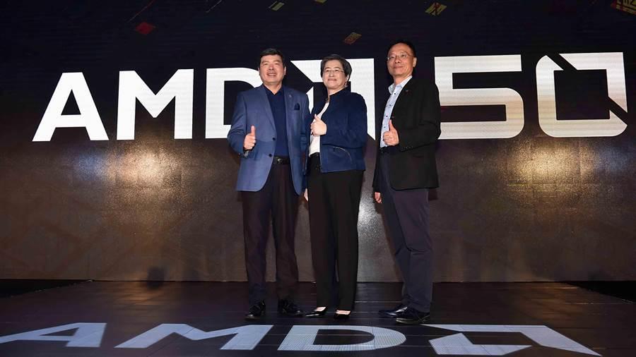 外貿協會秘書長葉明水、AMD美商超微半導體公司總裁暨執行長蘇姿丰與台北電腦公會副總幹事張笠共同於COMPUTEX國際記者會合影。(貿協提供)
