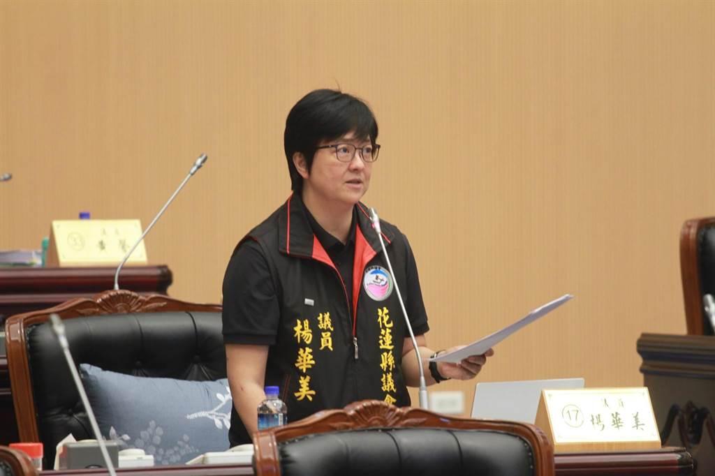 花蓮縣議員楊華美暢談共融公園的理念。(范振和攝)
