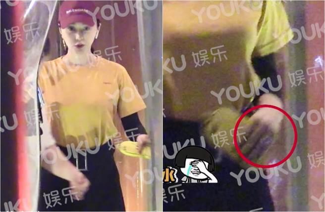 范冰冰被拍小腹微凸和朋友聚餐,手上戴了鑽戒。(圖/翻攝自優酷娛樂微博)