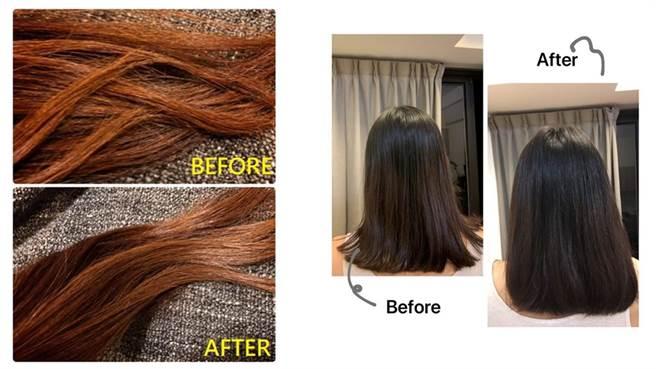 PTT網友分享的使用前後對比圖,左圖網友是染燙乾燥髮,使用後覺得頭髮光澤感和柔順度都有提昇。右圖網友是扁塌髮,覺得使用後頭髮變得較為蓬鬆。(圖/擷取自PTT畫面)