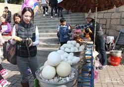 水煮巨大駝鳥蛋 切開瞬間超療癒