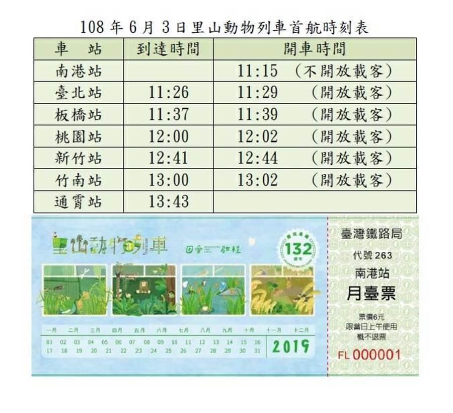里山動物列車首航時刻表。(台鐵提供)