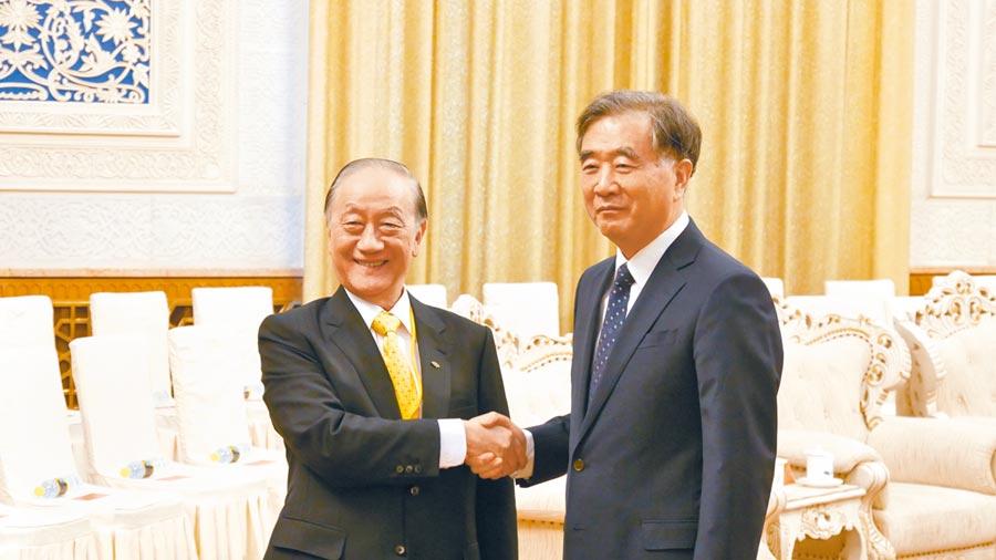 大陸全國政協主席汪洋(右)29日下午在北京人民大會堂,會見新黨主席郁慕明(左)一行。(記者陳柏廷攝)