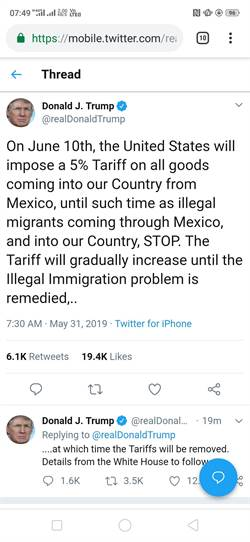 關稅人上身 川普向墨西哥下手 不解決非法移民6/10提高關稅