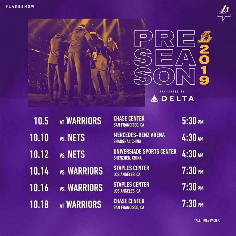 本季都還沒打完,湖人就已提前公布下季熱身賽時間與地點了。(取自NBA官網)
