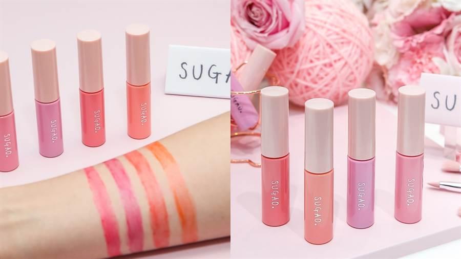 SUGAO QQ果凍感唇釉 (杏桃粉橘/珊瑚蜜紅/甜李紫紅/莓果漾粉),持久發色,抿唇喝水也不易掉色。可重複疊擦上色,直到呈現想要的顏色濃度。(圖/品牌提供)