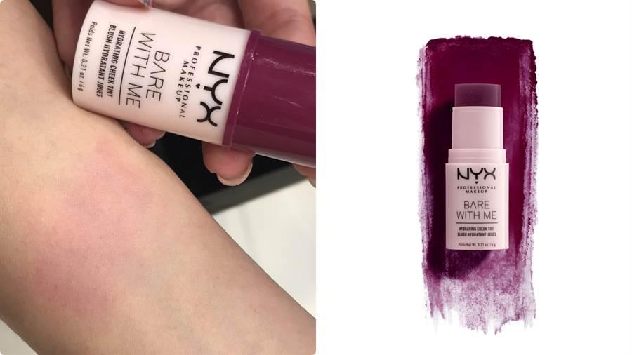 看起來是沉重的紫色,但推開卻是超美的透亮莓果色,而且很自然,一點都不誇張,超級美。NYX Professional Makeup 裸漾頰彩棒#03,6g/330元