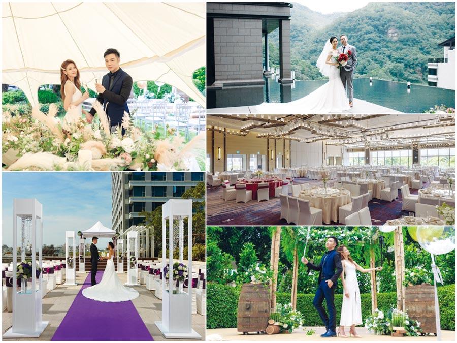 除了宴會廳,飯店也可以「變」出更唯美、具質感的場地,爭取龐大婚宴市場。圖/維多麗亞、台南晶英、北投麗禧、台南大員皇冠等提供