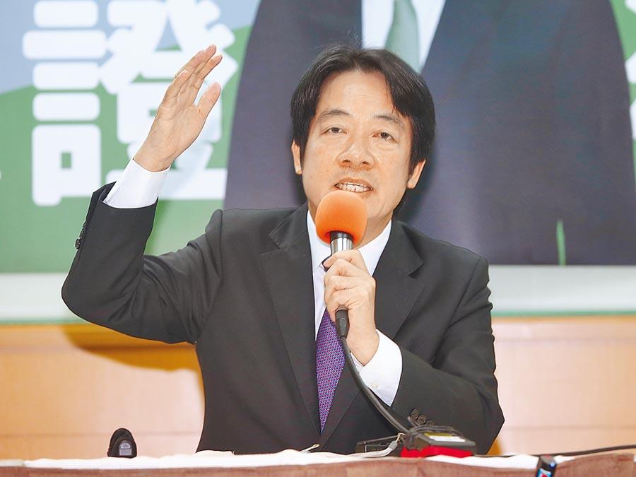 前行政院長賴清德1日舉行「守護台灣」記者會,強調他是最有實力可以打敗國民黨的總統人選。(姚志平攝)
