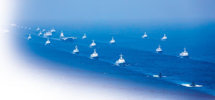 2018年4月12日,解放軍海軍在南海舉行海上閱艦。(新華社)