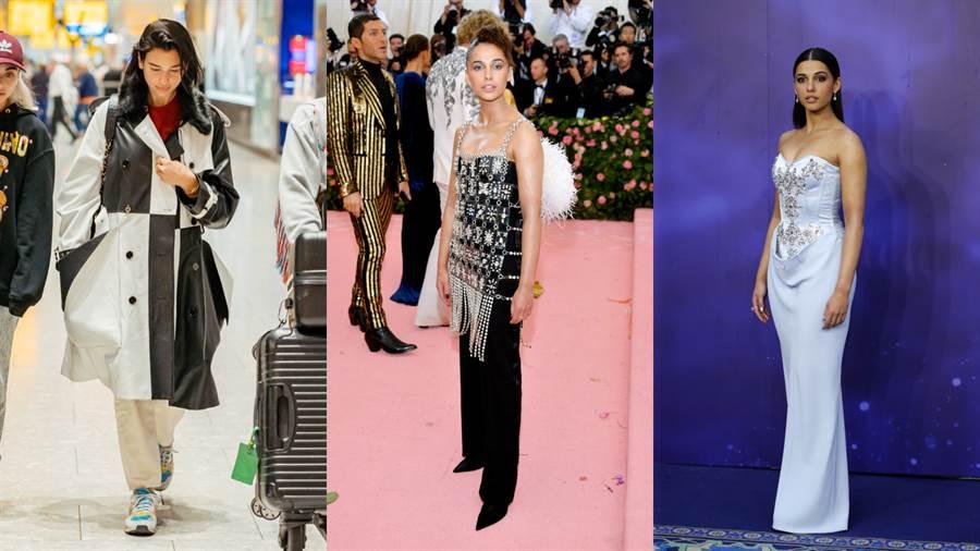 左/Dua Lipa、中/Naomi Scott身穿Burberry禮服參加Met Gala 2019、右/Naomi Scott身穿Burberry禮服現身《阿拉丁》倫敦電影首映會。(圖/品牌提供)