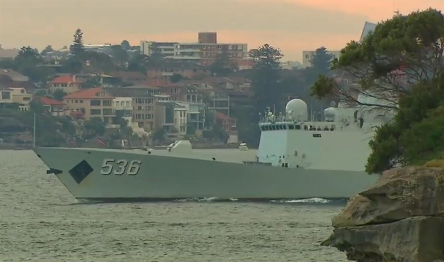 抵達雪梨港的中國海軍軍艦。(取自環球網,圖片來源:澳洲天空新聞)