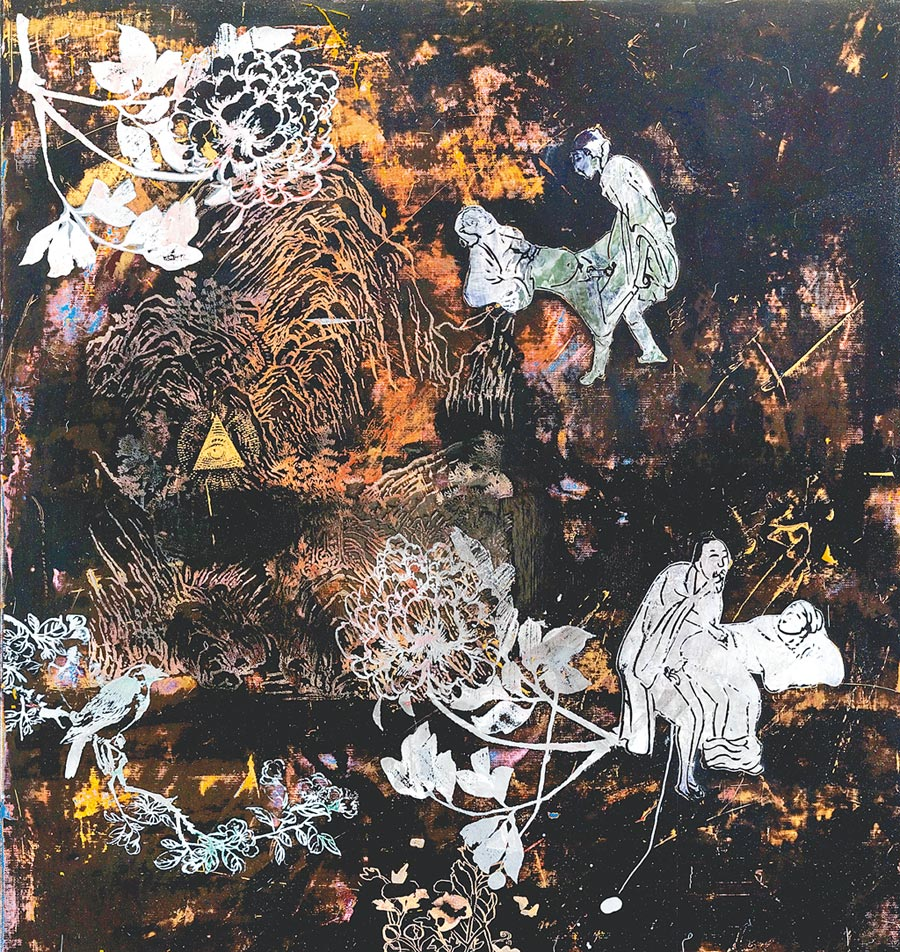 蘇孟鴻的《美金瓶梅子園》可看出他對傳統工藝及樣板圖的再詮釋。(耿畫廊提供)