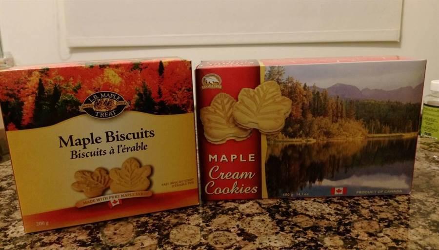 買加拿大的楓糖餅乾,怕吃甜的可以買左邊這款沒有夾心的純餅乾。圖:業者提供