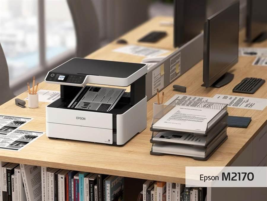 (黑白高速雙網連續供墨複合機Epson M2170內建1.44吋彩色螢幕,透過螢幕快速設定Wi-Fi及影印張數,使用更直覺、操作更快速,工作效率再升級。圖:Epson提供)