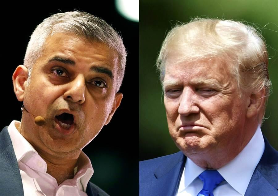 川普訪英不忘批倫敦市長沙迪克汗是魯蛇,對方隨後在推特3連發回敬,砲轟川普和倫敦不合。(圖/美聯社)