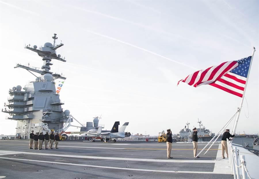 美軍福特號使用SSDS MK-2 Mod6C,能整合艦上的雙波段雷達與AN/SQL-32(V)6電戰系統。圖為福特號艦島。(圖/美國海軍)
