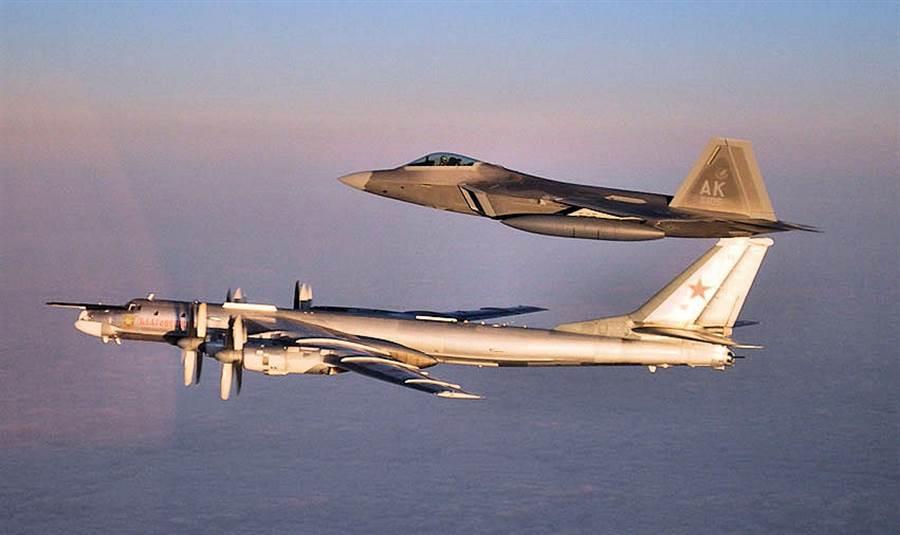 上個月,美國F-22戰機攔截了俄國的Tu-95轟炸機。(圖/任務與目的)