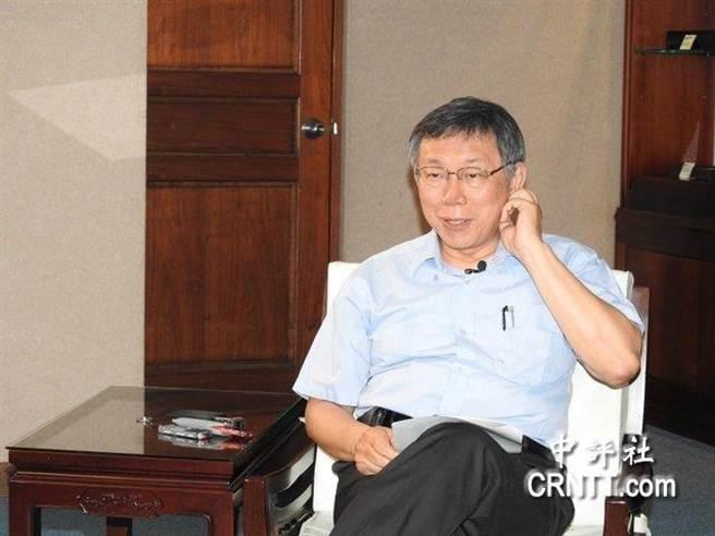台北市長柯文哲接受媒體訪問。(圖/中評網)