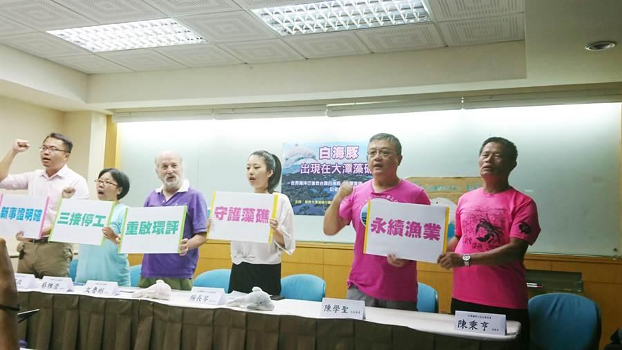 環保團體表示,大潭藻礁海域發現台灣白海豚的蹤跡,中油三接站應停工。(廖德修攝)