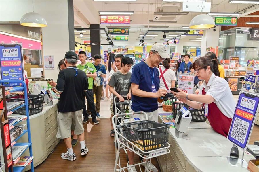 全聯慶祝PX Pay下載破百萬,今在大安延吉門市開放民眾使用PX Pay消費滿100元,抽福利點點數10萬點,吸引排隊人潮。(全聯提供)