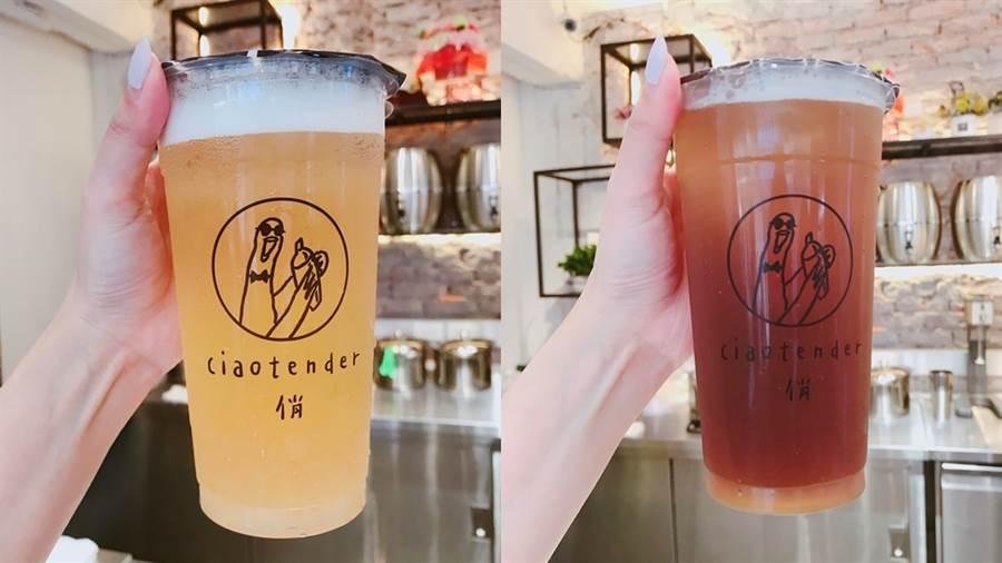 左:蘋果冰茶也是店內招牌,這杯飲品中的主角「蘋果泥」,除了擁有極佳的口感之外,還帶有天然蘋果的甜氣,最後加上這杯飲品的秘訣「百里香」,顯現出畫龍點睛的效果。右:檸檬直火烏龍氣泡飲,特別萃取出直火烏龍的香氣,搭配上檸檬汁的提味,讓整體風味再更提升。(圖/邱映慈攝影)