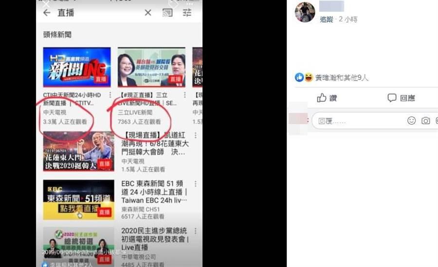 網友分享在黃暐瀚臉書分享截圖,韓國瑜花蓮造勢、菜賴政見發表會人氣差很大。(取自臉書)