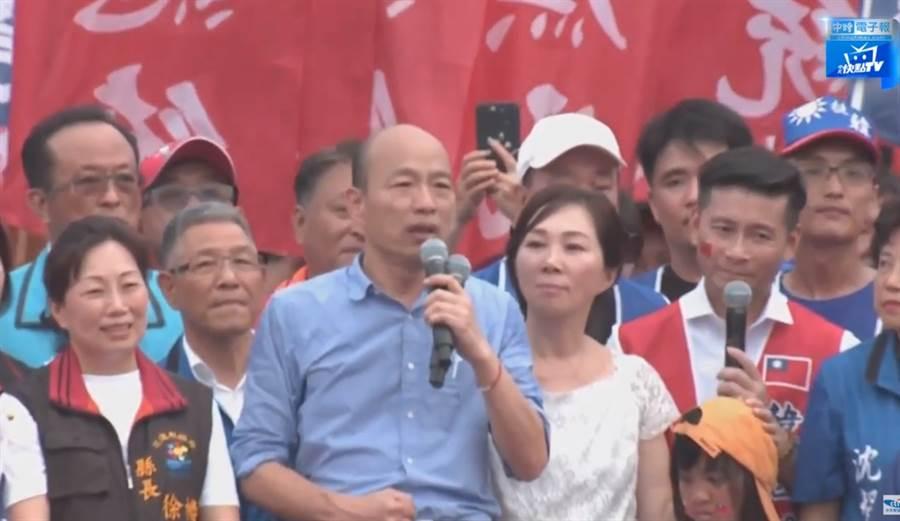 韓國瑜表示,會來花蓮造勢,是因為花蓮長期被忽視,因此一定要到場看一看,關心當地鄉親 (圖/中時電子報直播)