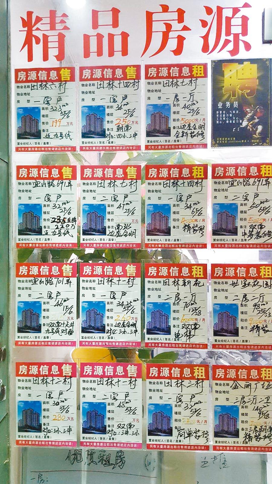 上海徐匯區宜山路附近約10坪(34平方公尺)的一房戶,月租金要價4000元人民幣。(記者葉文義攝)