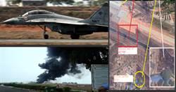 印度MiG-29戰機油箱脫落 造成機場起火
