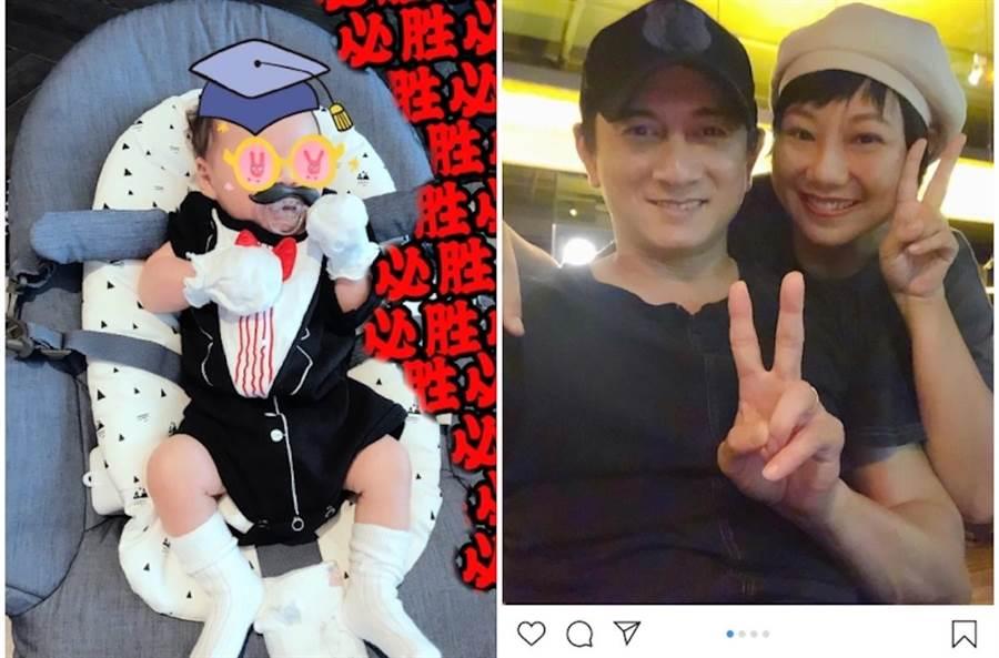 吳奇隆(右圖)和香港DJ雲妮聚會,透露兒子(左圖)小名叫步步。取自雲妮IG及吳奇隆微博