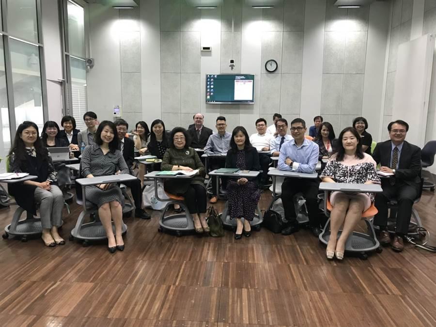 教育部次長范巽綠(前排左三)率團參訪韓國梨花女子大學。(教育部提供)