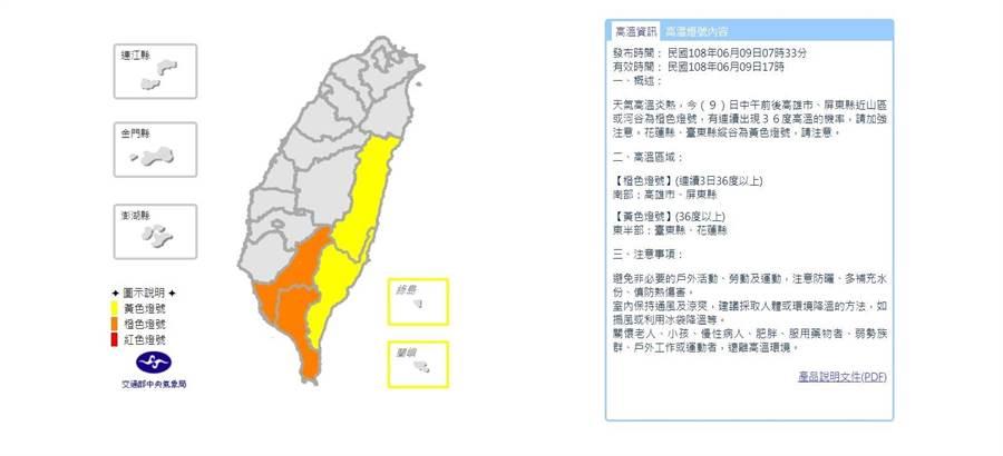 中央氣象局上午針對花東、高屏地區發布高溫燈號。(中央氣象局提供)