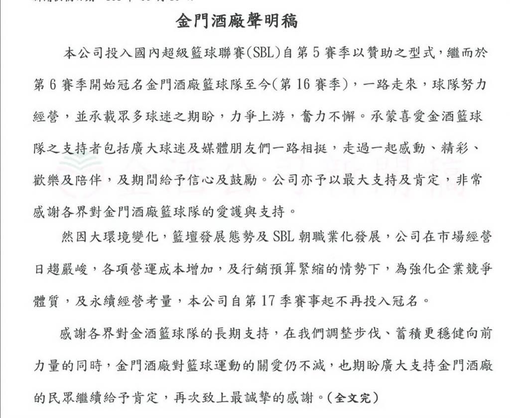 金酒公司突然發布新聞稿宣布不再掛名贊助籃球隊。(金酒提供)