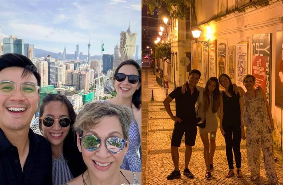 余安安和女兒女婿到澳門度假。(圖/翻攝自微博)