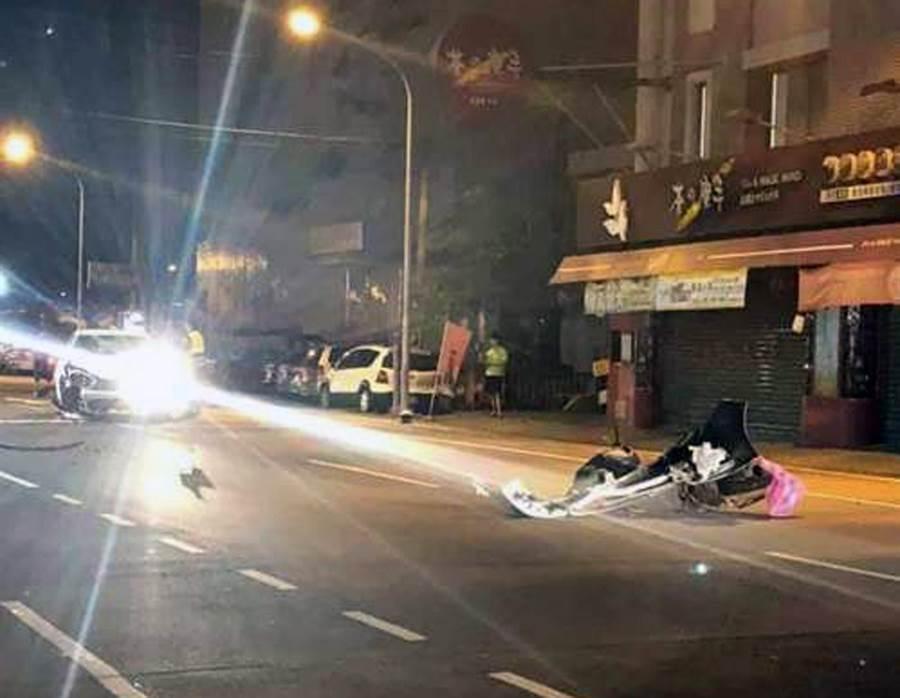 台南市警五分局刑事小隊長丁清吉9日深夜駕車行經安南區時,與騎機車的蔡姓女子發生擦撞車禍。(翻攝網路)