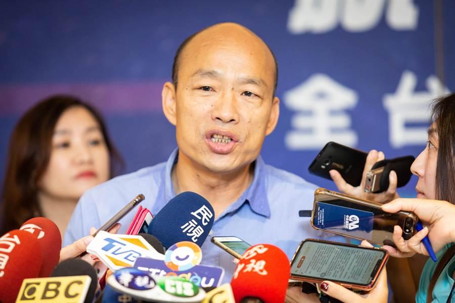 高雄市長韓國瑜特地澄清,與郭台銘會面兩次,都沒聽過郭台銘提及「不要進中聯辦」這件事。(袁庭堯攝)