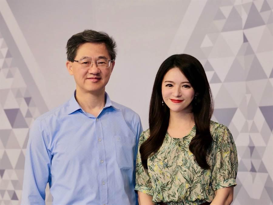 台灣運彩總經理林博泰(左)上時來運轉節目,與主持人尉遲佩玉(右)談運彩眉角。(廖映翔攝)